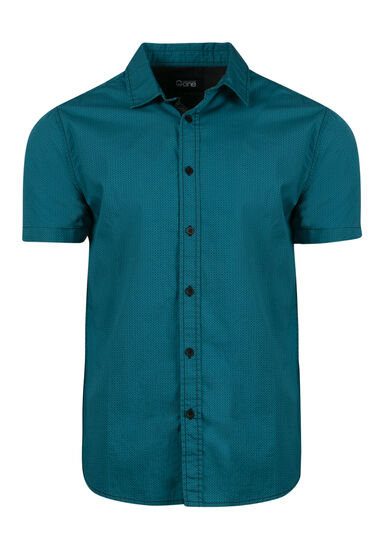 Men's Mini Chevron Printed Shirt, LAGOON, hi-res