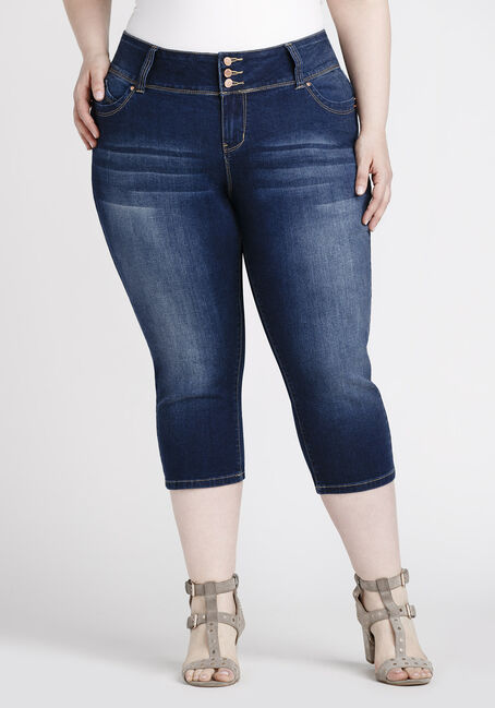0464ebcb118 ... Women s Plus Size Dark Wash Capri