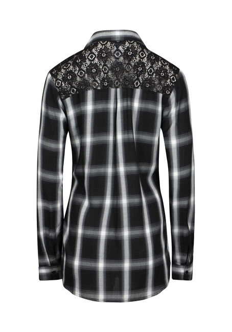 Women's Lace Trim Plaid Shirt, BLACK, hi-res