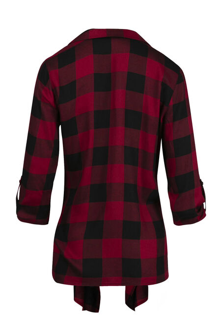 Women's Buffalo Plaid Cardigan, RED, hi-res