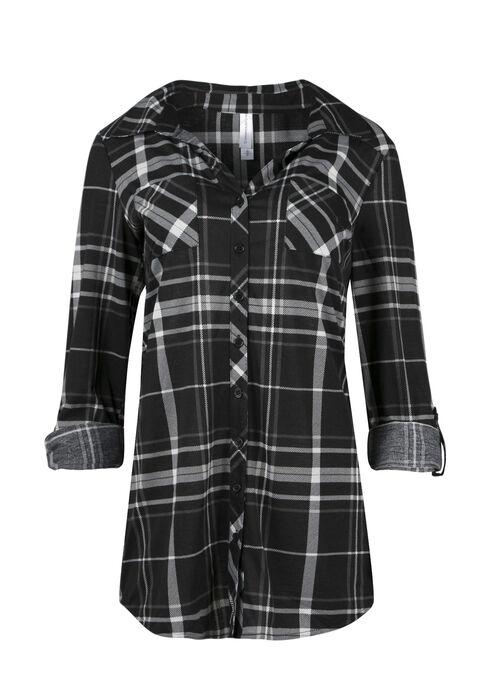 Ladies' Knit Plaid Tunic Shirt, BLACK, hi-res