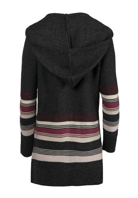 Ladies' Hooded Stripe Cardigan, CHARCOAL, hi-res
