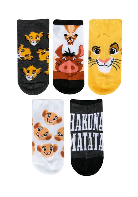 Ladies' 5 Pair Lion King Socks, PUMPKIN, hi-res