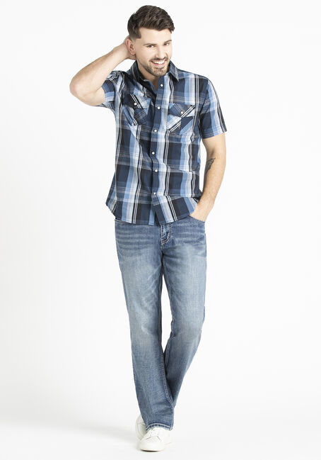 Men's 2 Pocket Plaid Shirt with Snaps, BLUE, hi-res