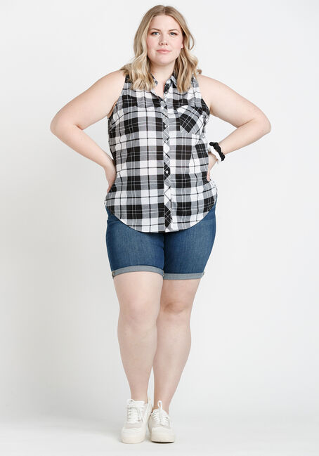 Women's Sleeveless Plaid Shirt, WHITE/BLACK, hi-res