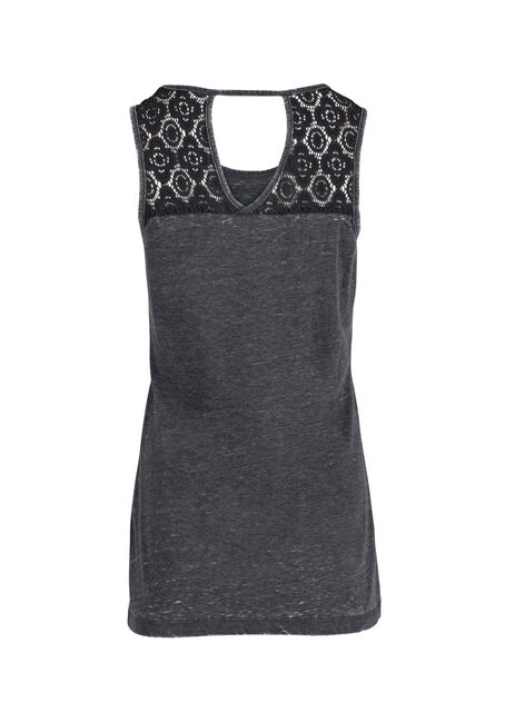 Ladies' Pineapple Lace Insert Tank, CHARCOAL, hi-res