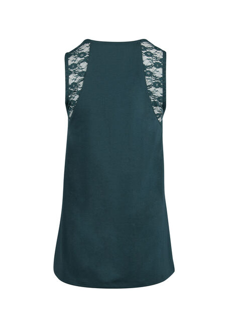 Ladies' Lace Yoke Tank, BLUE IVY, hi-res