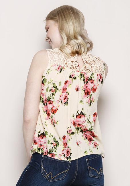Women's Floral Crochet Neck Tank, WHITE, hi-res