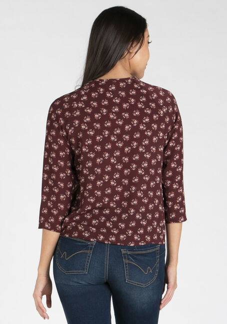 Women's Wrap Front Blouse, BURGUNDY, hi-res