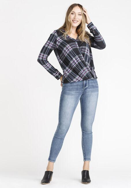 Women's Wrap Front Knit Plaid Shirt, BLACK, hi-res