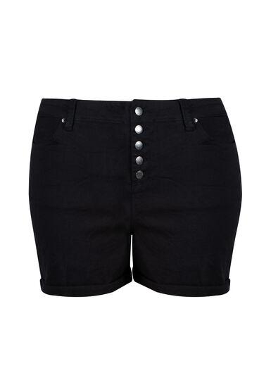 Women's Plus High Rise Button Fly Short, BLACK, hi-res