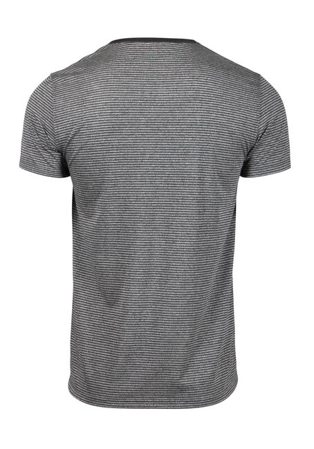 Men's Everyday V-Neck Mini Stripe Tee, CHARCOAL, hi-res