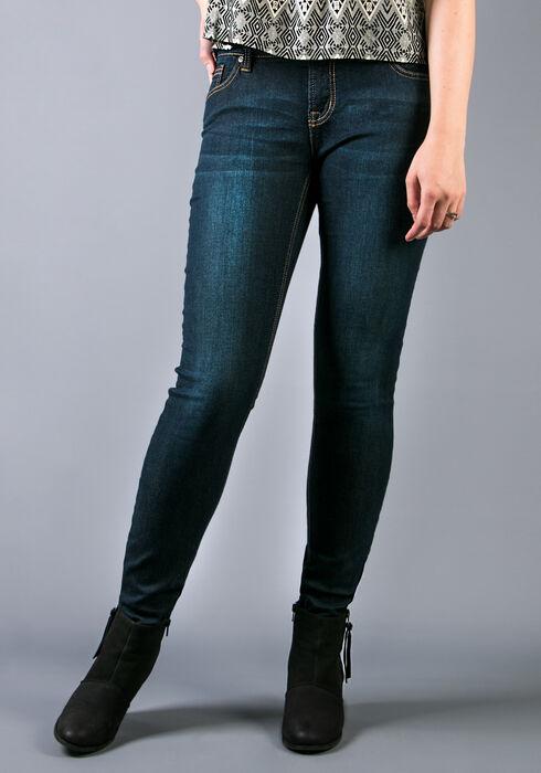 Ladies' Knit Skinny Dark Jeans, DARK WASH, hi-res