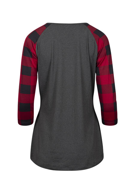 Women's Plaid Reindeer Baseball Tee, CHARCOAL, hi-res