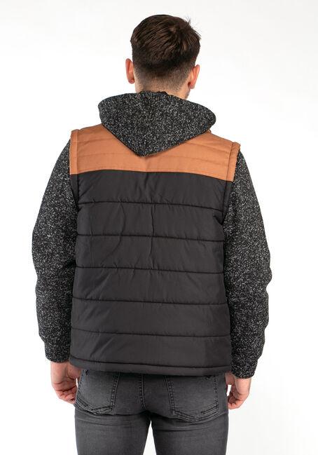 Men's Knit Sleeve Puffer Jacket, BLACK/TAN, hi-res