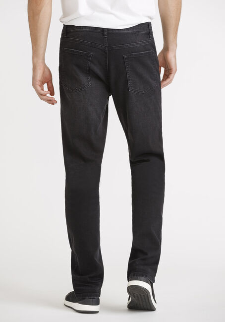 Men's Washed Black Slim Straight Jeans, BLACK, hi-res