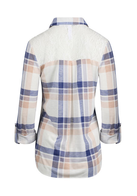 Women's Lace Trim Knit Plaid Shirt, IVORY/LAVENDER, hi-res