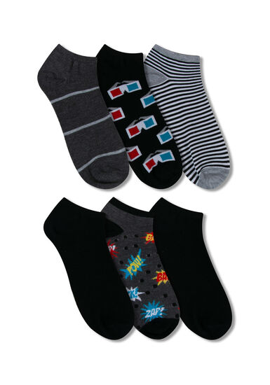 Men's 6 Pair Pow Socks, RED, hi-res