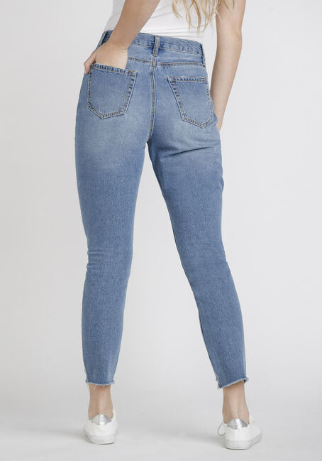 Women's High Rise Distressed Mom Jeans, DENIM, hi-res