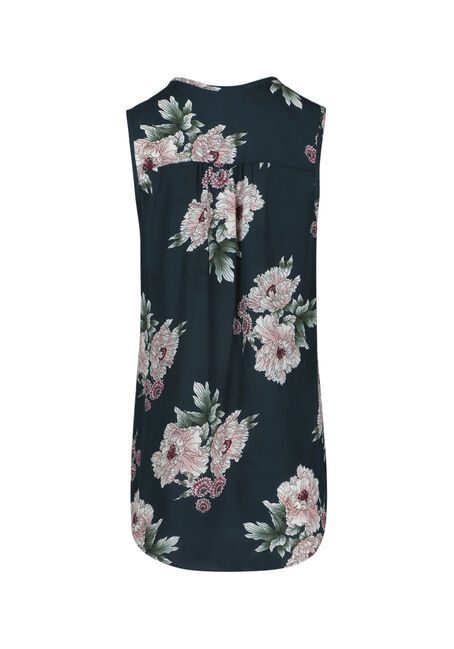 Ladies' Floral Pleat Front Tank, TEAL, hi-res