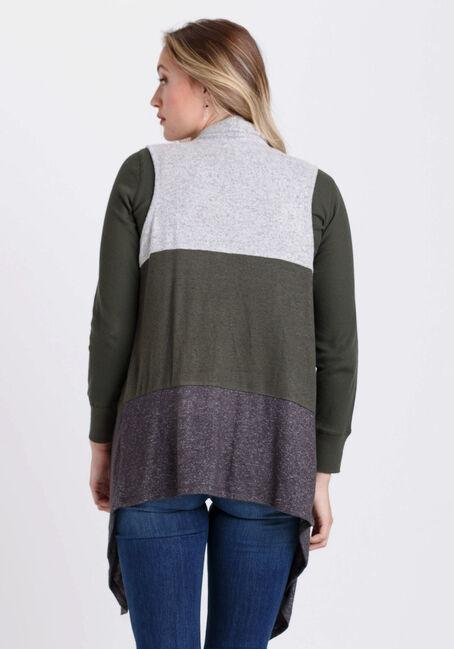 Women's Colour Blocked Vest, OLIVE/GREY, hi-res