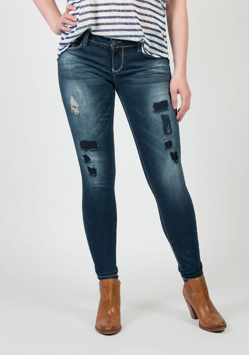 Ladies' Low Rise Skinny Jeans, MEDIUM WASH, hi-res