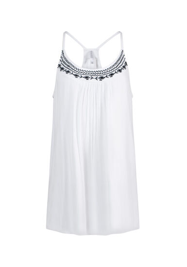 Women's Embroidered Tank, WHITE, hi-res