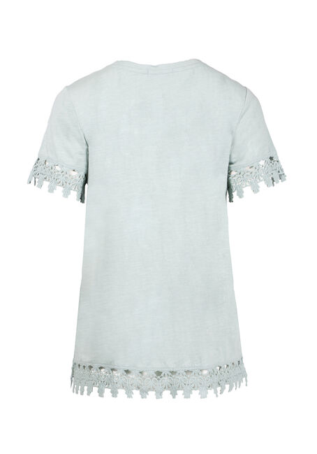 Women's Crochet Trim Tee, MINT, hi-res