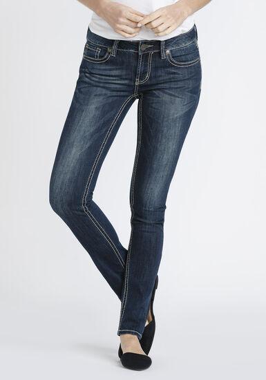 Women's Dark Whisker Wash Skinny Jeans, DARK WASH, hi-res