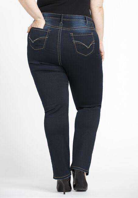 Women's Plus Size High Rise Straight Jeans, DARK WASH, hi-res