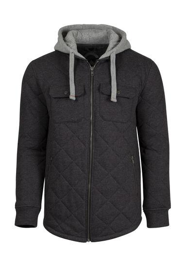 Men's Quilted Shirt Jacket, CHARCOAL, hi-res