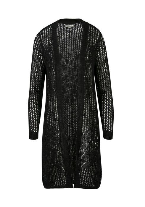 Ladies' Pointelle Open Cardigan, BLACK, hi-res