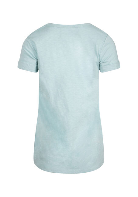 Women's Cuffed V-Neck Tee, AQUA, hi-res