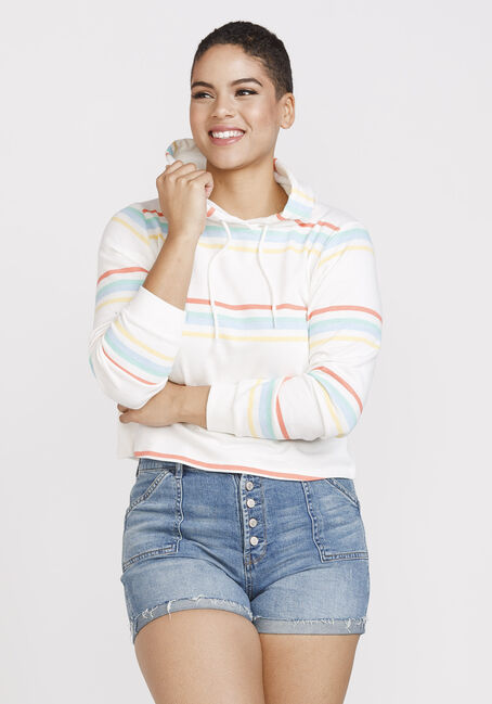 Women's Striped Popover Hoodie, MULTI, hi-res