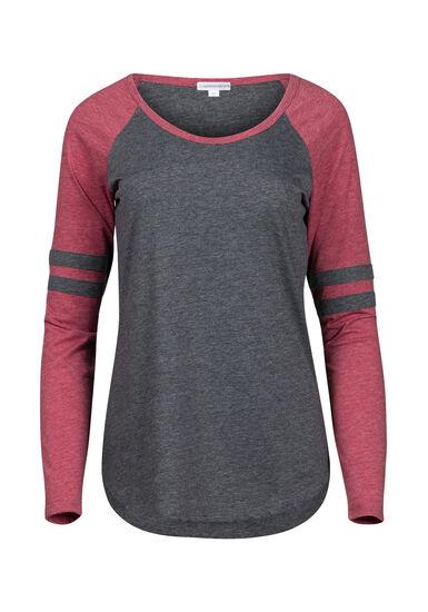 Women's Football Stripe Tee, CHARCOAL/CRIMSON, hi-res