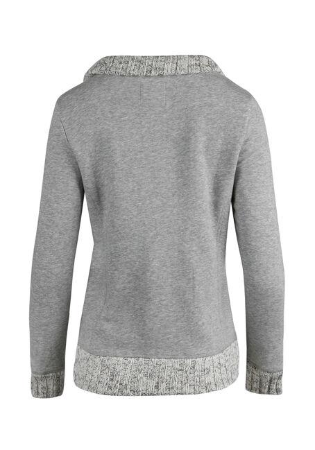 Ladies' Button Front Fleece, HEATHER GREY, hi-res
