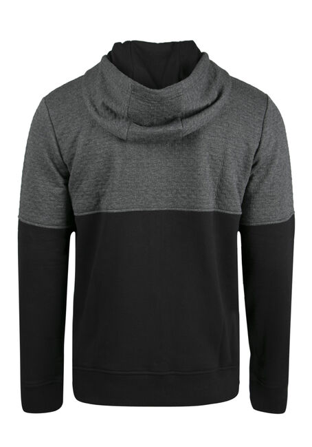 Men's Textured Colour Block Hoodie, CHARCOAL, hi-res
