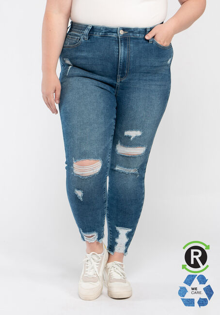 Women's Plus High Rise Destroyed Ankle Skinny Jeans