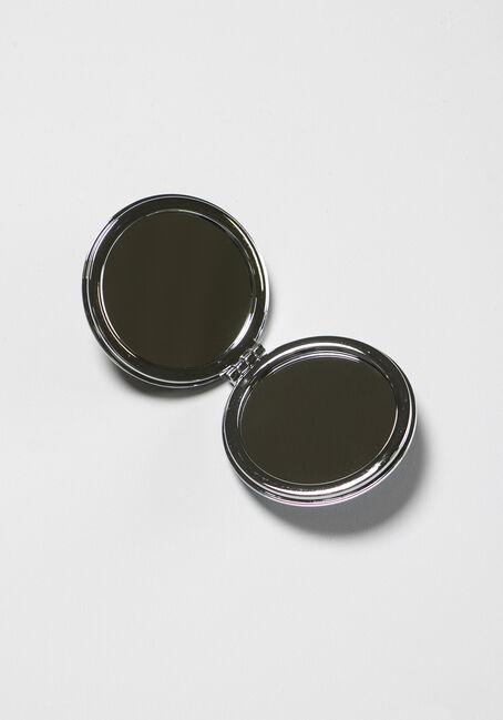 Round Glitter Compact Mirror, BLUE FLAMINGO, hi-res