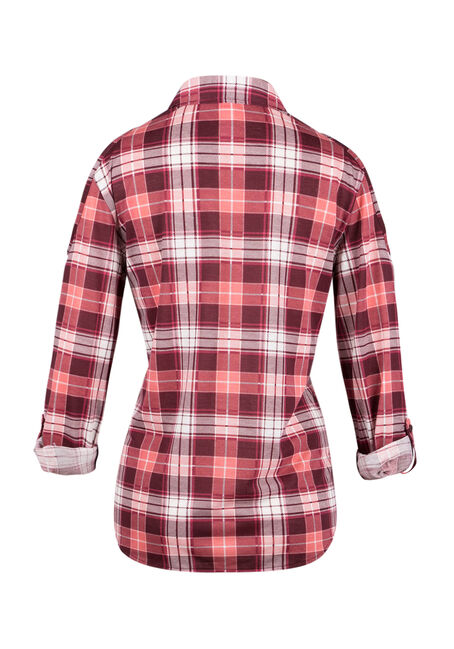 Ladies' Cold Shoulder Plaid Shirt, WINE, hi-res