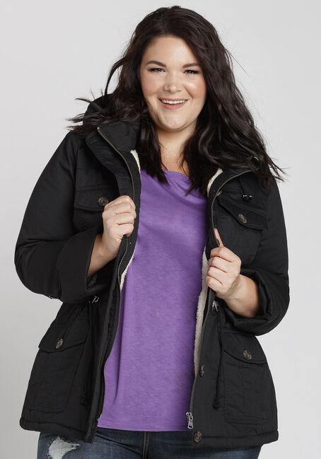 Ladies' Plus Size Hooded Anorak Jacket, BLACK, hi-res
