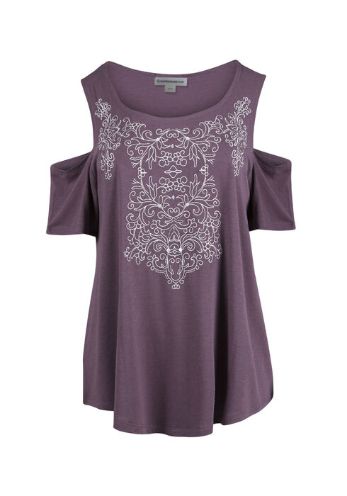 Ladies' Embroidered Cold Shoulder Tee, TULIP, hi-res