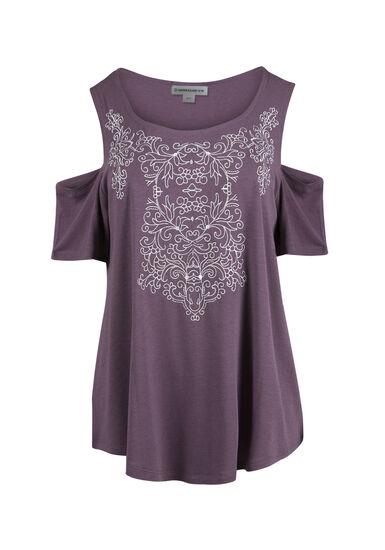 Women's Embroidered Cold Shoulder Tee, TULIP, hi-res