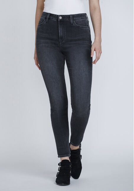 Women's Washed Black High Rise Skinny Jeans