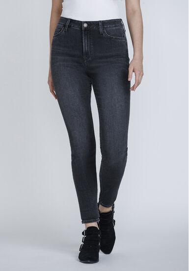 Women's Washed Black High Rise Skinny Jeans, DENIM, hi-res