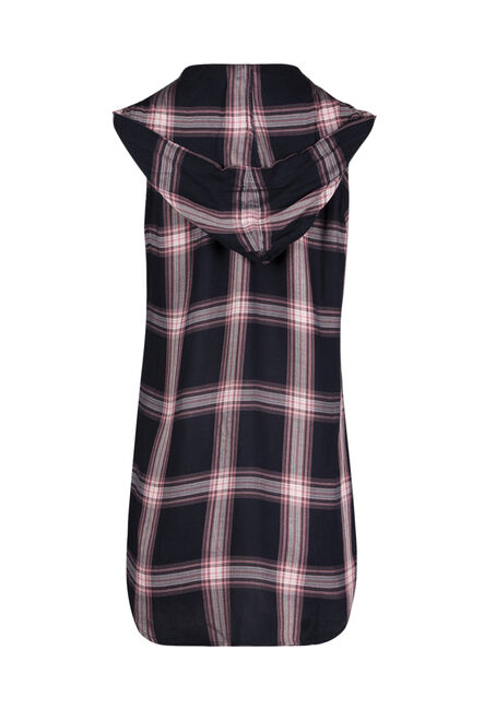 Ladies' Hooded Plaid Shirt, ECLIPSE, hi-res