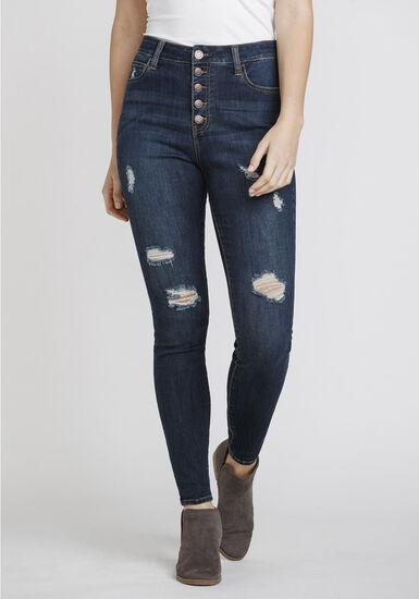 Women's Distressed High Rise Skinny Jeans, DENIM, hi-res