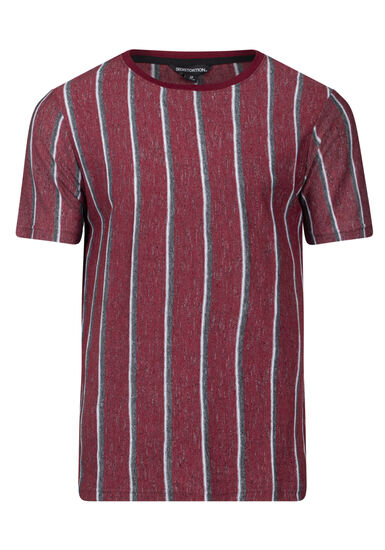 Men's Striped Tee, BURGUNDY, hi-res