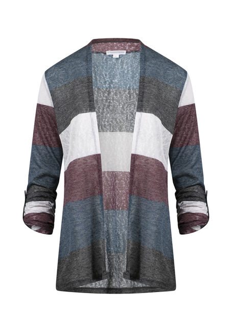 Women's Roll Sleeve Striped Cardigan