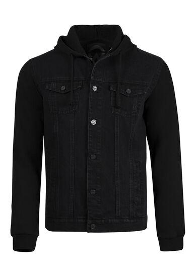 Men's Fleece Sleeve Jean Jacket, BLACK, hi-res